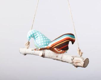 Bird Swing ~ Bird Mobile ~ Natural Bird Mobile ~ Colorful Bird Mobile ~ 2 Birds on a Branch ~ Love birds ~ Customizable Bird Mobile