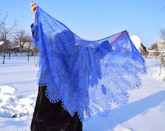 "Handknit black shawl ""Chic navy blue"" embroidered in  white beads"