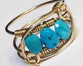 Turquoise Ring   Turquoise Gemstone Ring   Turquoise Jewelry   December Birthstone   14K Gold Fill Rings for Women