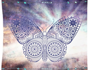 Purple Butterfly Tapestry Wall Hanging Meditation Yoga Grunge Hippie