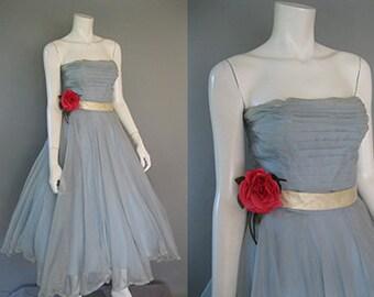Vintage Blue Strapless Dress Bolero Set. Blue Chiffon Ivory Satin Tulle Formal Dress, 1950s  XS Prom Dress, Wedding Guest Dress, Emma Domb