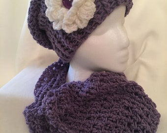 Handmade crochet slouchy beanie with matching infinity scarf