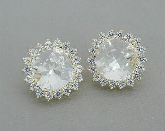 Crystal Stud Earrings Stud Bridal Earrings Swarovski Clear Crystal Earrings in Gold Rose Gold or Silver Tone Wedding Earrings for Brides