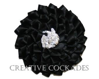 Black Silk Officers Hat Cockade