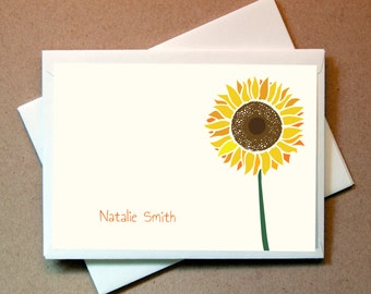 Sunflower Personalized Note Card (15 cards and envelopes)