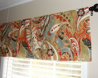 """Richloom Coral Paisley Designer Valance 50"""" wide x 16"""" long cream, taupe, grey, charcoal and shades of orange and brown"""
