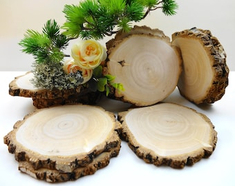 """Blank Wood Coasters, 4""""-5"""" Birch Wood Slices, Wood Rounds, Wood Circles, Rustic Wedding Decor, Woodworking, Blank Ornaments,  B58, 6pcs"""