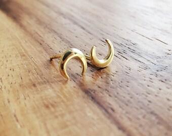 Pauahi Earring- Crescent Stud Earring, Gold Earring, Moon Earring, Moon Stud, Crescent Moon Stud Earring, Gold Post Earring, Hawaii Jewelry