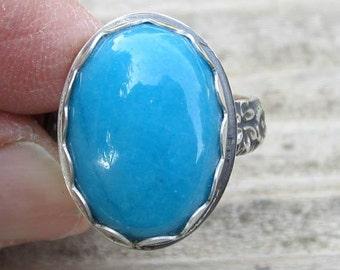 Amerikanische Ureinwohner inspiriert Howlith Blau Silber Ring - Größe 8-1/4