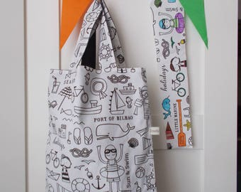 Tote bag color / library bag vacation by the sea