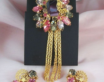 Gorgeous Vintage Brooch and Earring Set Demi Parure - Purples and Pinks Rhinestones