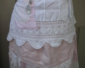 Aprons - Pink Lace Aprons - Handmade Bridal Aprons - Vintage Linen Aprons - Annies Attic Aprons - French Flea Market Apron - Pink Lace Apron
