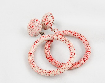 """Vintage Red and White """"Splatter Paint"""" Style Earrings"""