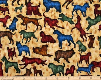 Dog Fabric Its a Ruff Life Silhouette Tan Fabric From Quilting Treasures