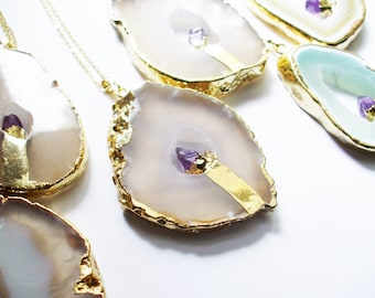 Womens Layering Necklace // RARE Agate Necklace // Dipped in Gold Amethyst Gemstone Necklace // Layering Boho Agate Necklace, 18k Gold Chain