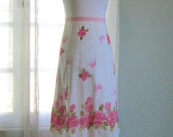 Floral Skirt, Pink Skirt, Summer Skirt, Rose Print Skirt , Women's Floral Skirt, Cotton Skirt, Novelty Print Skirt, Midi Skirt, Rose Skirt