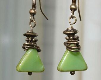 Green Earrings, Czech Glass Earrings, Dangle Earrings Jewelry boho Earrings Czech earrings Gift For women Gift For Her Gift For Wife