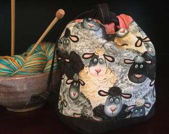 Drawstring Knitting Project Bag with inner zippered pocket, Silly Sheep print