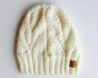 Hand Knit Beanie // Handmade Winter Hat // Knitted Beanie Cap