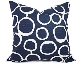 Two Navy Decorative Throw Pillow Covers - Two Navy and White Pillow Covers - Navy Couch Pillow - Navy Blue Accent Pillows - Pillow Sham