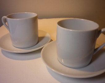 Porcelain Demitasse Cups - Pair of Espresso Cups and Saucers - Bright White great for gifting grab bags stocking stuffers vintage 1980s