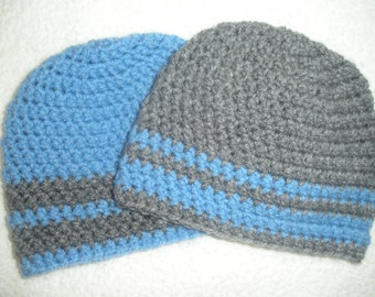 Twin baby gifts, baby hats for twins, twin boy gifts, crochet twin hats, baby boy gifts, newborn photo prop, baby shower gift, light blue