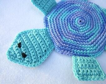 Turtle Pot Holder, Crochet Hot Pad in Blues, Table Trivet, Housewarming Present, Bridal Shower Present, Ocean Decor for Kitchen or Bath