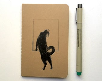 Black Cat Notebook - Cat Journal - Cat Lovers Notebook - Gift for Mom for Dad - Original Illustration - 3.5 x 5.5 Blank Notebook