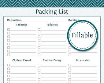 Travel Planner: Packing Lists - Fillable - Instant Download - Printable PDF  - Vacation Planner