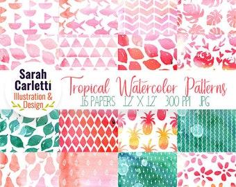 Watercolor Digital Paper, Watercolor Patterns, Tropical, Summer, Watercolor Digital Paper, Digital Paper Pack