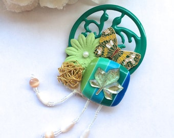 Kelly Green Filigree Vine Motif Collage Handmade Brooch with Butterfly and Leaf Details