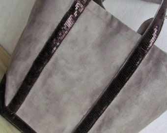 Ribbon sequins Poplin scales pattern suede tote bag