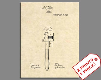 Patent Print - Pipe Wrench Patent Art - Vintage Plumber Art - Plumber Wall Art - Antique Tools - Plumbing Art Patent Poster Prints- 99