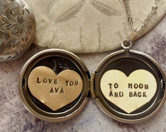 Personalized necklace, Love you to the moon and back, name locket necklace, custom name message, gift for her, heart locket necklace
