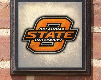 Oklahoma State Cowboys University Logo OSU Wall Art Sign Plaque Gift Present Home Decor Vintage Style Pistol Pete Stillwater OK Antiqued