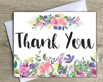Floral thank you notecard, thank you card, watercolor floral thank you card, thank you cards, thank you card with envelope
