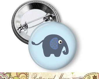 "Blue Elephant (20 choices) 1.25"" or Larger Pinback Button, Flatback or Fridge Magnet, Badge, Pocket Mirror, Keychain, Pin, baby boy"