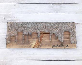 Nashville, Nashville sign, city skyline string art, wood skyline, Nashville decor, Nashville skyline string art, housewarming gift, rustic