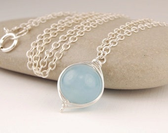 Aquamarine necklace, handmade wire wrapped pendant necklace in sterling silver, March birthstone, simple silver necklace