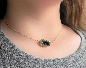 Geode Necklace, Geode Layering Necklace, Geode Statement Necklace, Geode Agate Necklace, Geode Slice Necklace, Druzy Necklace, Gift for Her