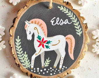 Fairytale Gift for girl, Horse Ornament, Personalized Children's Christmas Ornaments, Custom Ornaments, Horse Gifts for Girls, for kids