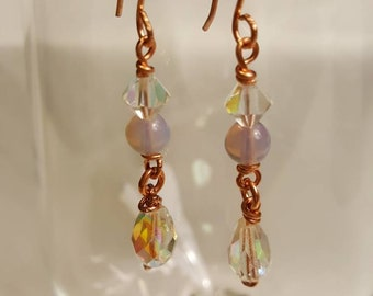 Copper, pink and clear crystal earrings