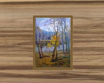 Painting landscape oil painting. Autumn painting on canvas. Painting on canvas with oil. Impressionism on canvas. Original landscape. décor