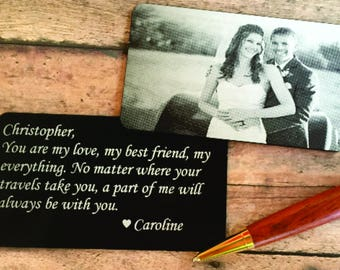 SALE! Engraved Picture Wallet Card - Engraved Photo Wallet Insert - Custom Wallet Card, picture wallet card -