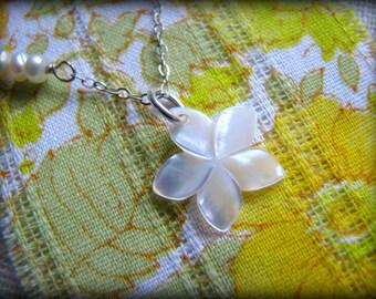 Petite Plumeria Necklace, White Opalescent Shell, Hawaii Aloha Flower