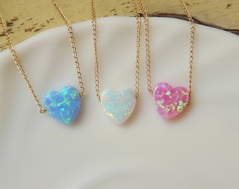 Opal Heart necklace, Valentines day gift, Opal necklace, Pink heart opal necklace, Gold Fill necklace, Opal jewelry, Gift for her