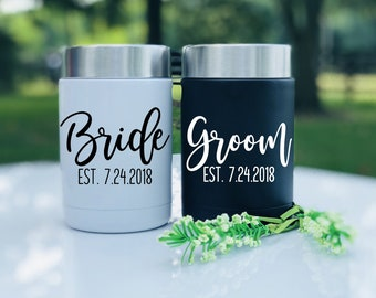 Mr. and Mrs. RTIC 12 oz. Set of Can Coolers, Bride and Groom Matching Couples Cups, Custom Can Colster, Wedding Gift for Beer Lovers