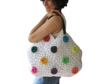 White Granny Sguare Afghan Croched Handbag With Leader Handles and Crochet Flowers