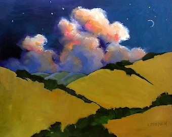 Moonrise Clouds Wine Country Napa Sonoma Painting California Plein Air Landscape 16x20 Lynne French