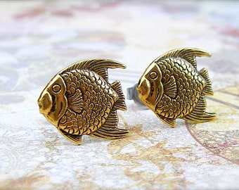 Something Fishy - antique gold post earrings